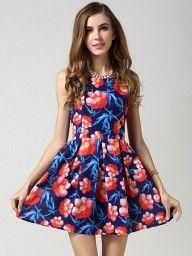 Blue Floral High Waist Sleeveless Skater Dress