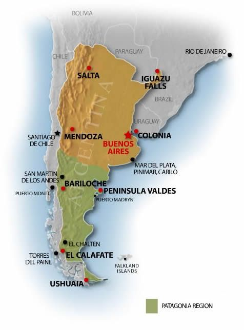 Patagonia Argentina Map Day 35 :D   Argentina Travel Guide   Map of Argentina and