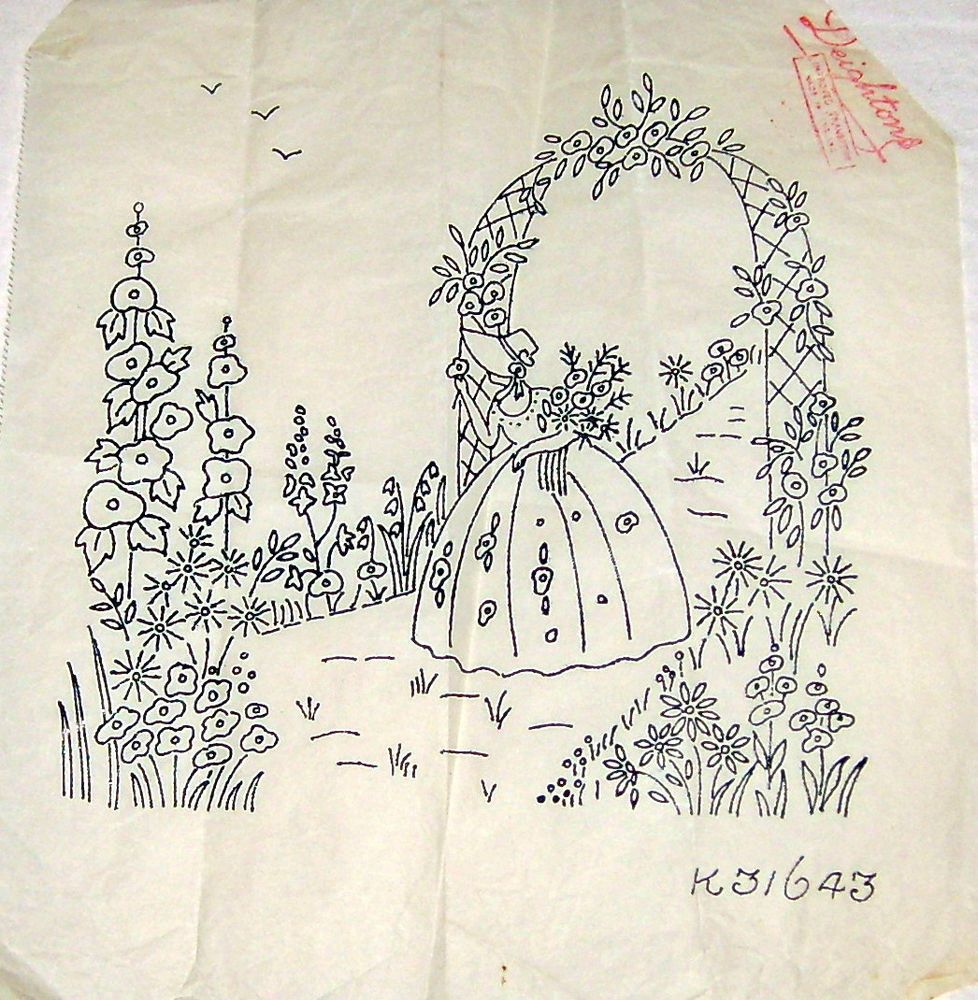 Vintage Deighton embroidery transfer - Crinoline Lady with Rose ...