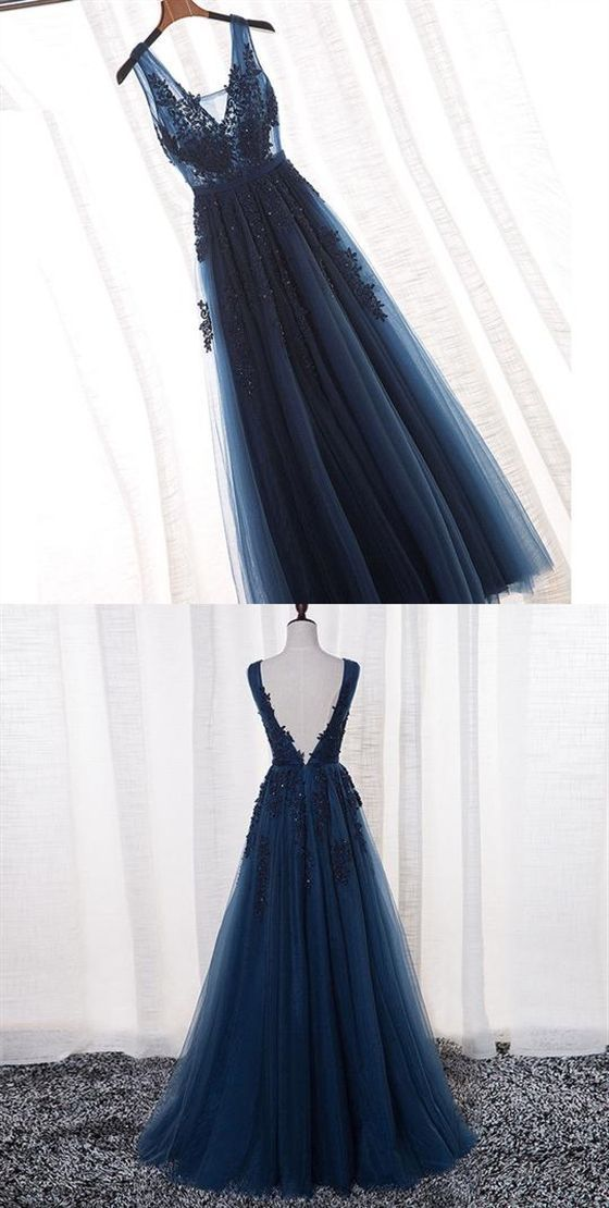 A-Line V-Neck Navy Blue Long Prom Dress with Appliques