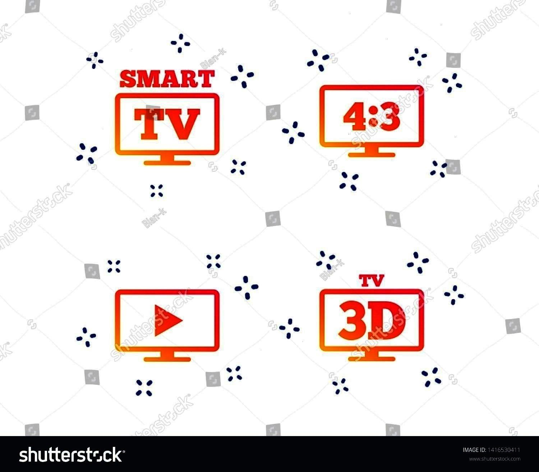 Aspect ratio 43 widescreen symbol 3D Television sign Random dynamic shapes Gradient smart tv icon Vector Smart TV mode icon Aspect ratio 43 widescreen symbol 3D Televisio...