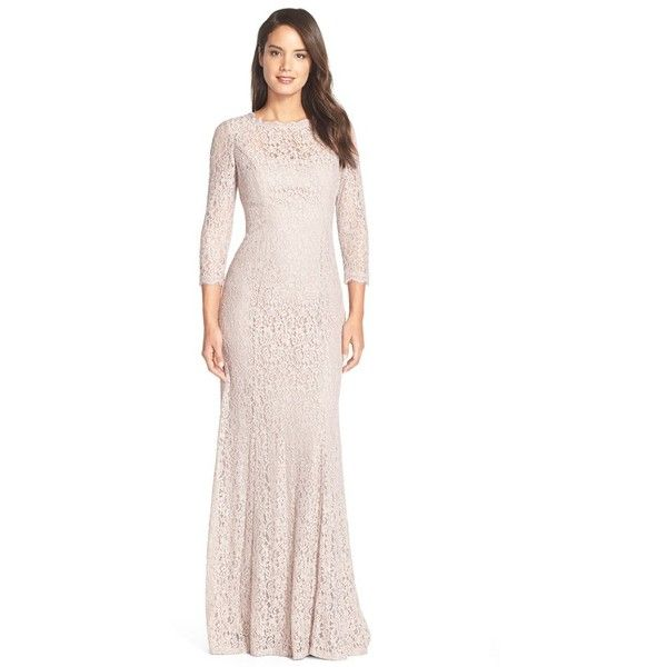 Petite Adrianna Papell Illusion Sleeve Lace Mermaid Gown (2 960 ZAR ...