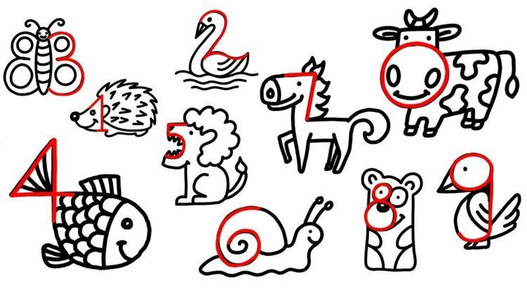 Tiere Malen Und Zeichnen Einfache Anleitungen Fur Kinder Tiere Malen Kinder Zeichnen Zeichnung Mit Zahlen