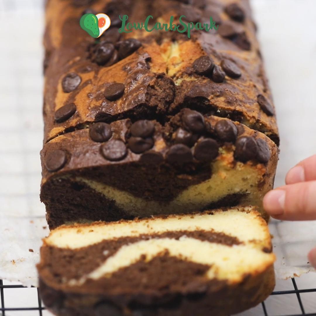 Keto Chocolate Vanilla Marble Cake