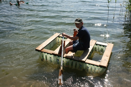 floating raft made from recycled plastic bottles and. Black Bedroom Furniture Sets. Home Design Ideas