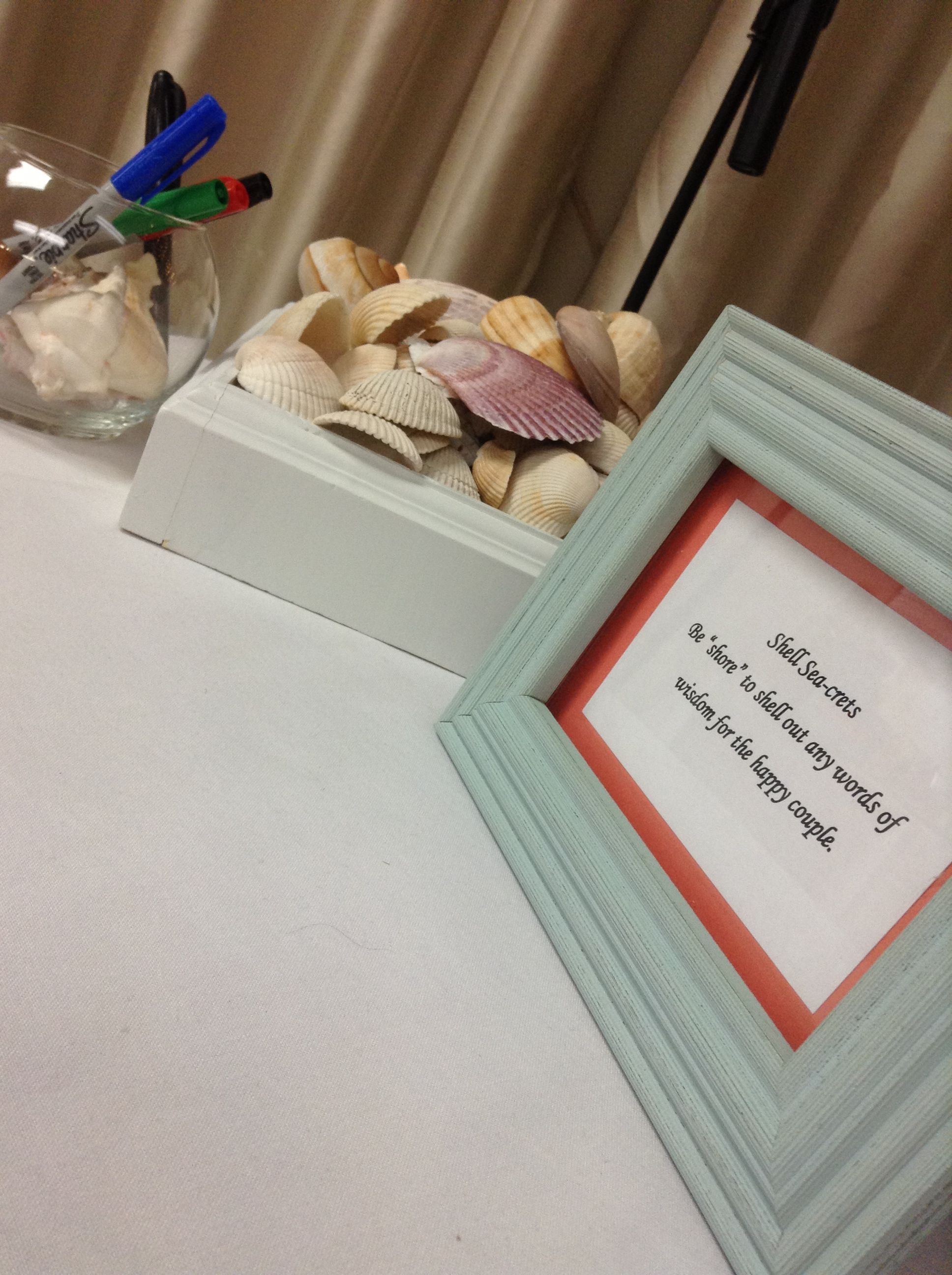 beach themed bridal shower marriage advice on shells quote credit to my husband