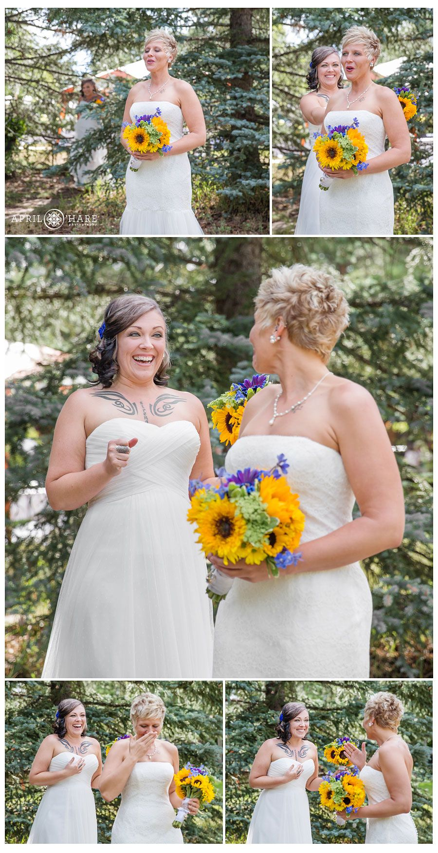 a sweet emotional bride sees her bride for the first time at their