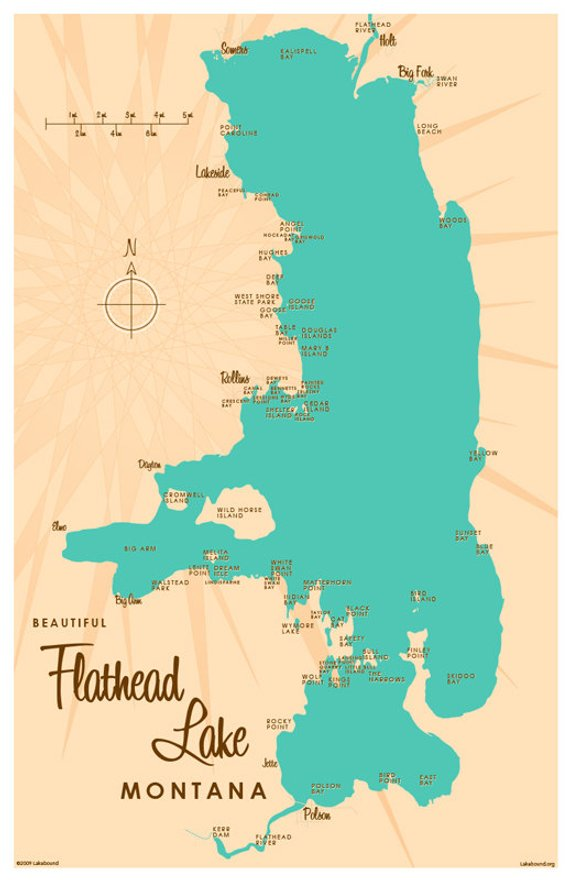 Flathead Lake Mt Map Print Products Pinterest Flathead Lake