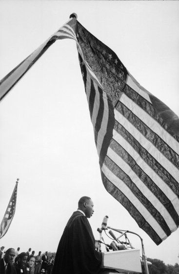 Martin Luther King Jr. speaks at the 'Prayer Pilgrimage for Freedom' event at the Lincoln Memorial, 1957.