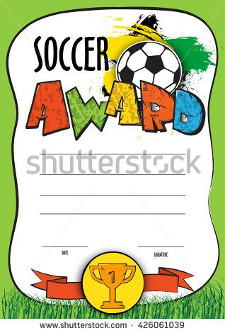 Vector Template Certificate Soccer Championship. Child Diploma To