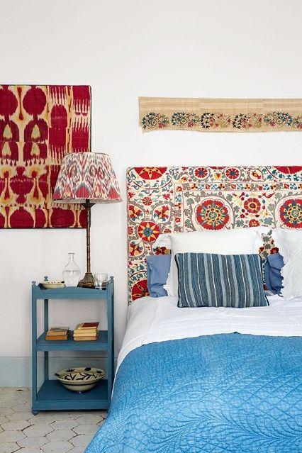 Bedroom With Suzani Headboard. Modern White BedroomsFabric HeadboardsSuzani FabricWall  Mounted ...