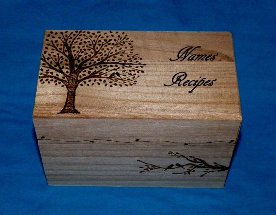Decorative Recipe Boxes Amusing Decorative Rustic Wood Wedding Recipe Card Box Wood Burned Recipe Inspiration