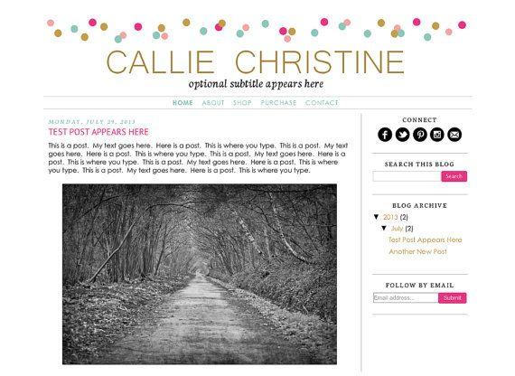 Premade Blogger Template Theme Blog Design by KreatedByKelsey1
