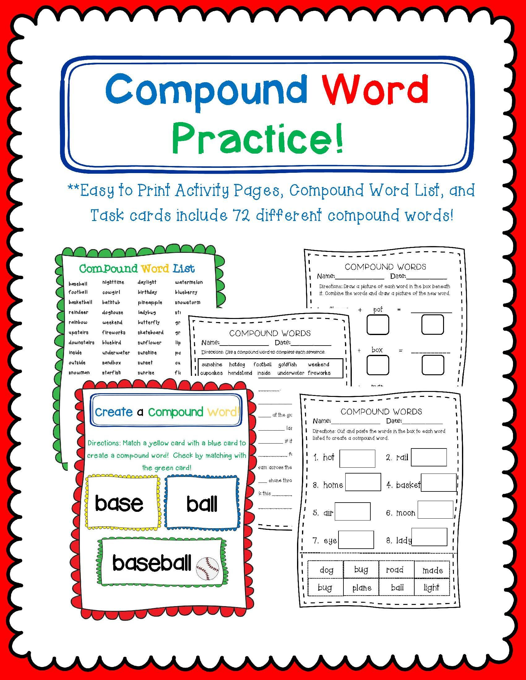 This Product Includes Practice Pages Compound Word List