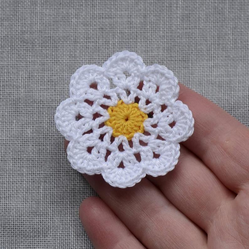 Set of 20 Crochet pink flowers card making 5cm scrapbook Handmade,craft