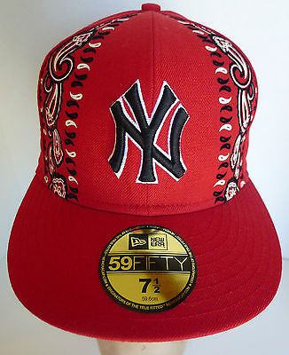 Yankees Controversial Red Bandana Baseball Hat New Era 7 1 2 Recalled Htf Baseball Hats Red Bandana New Era