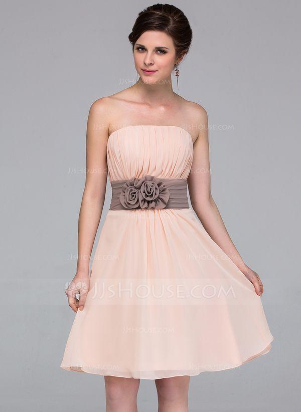 798de45c296 Forme Princesse Sans bretelle Mi-longues Mousseline Robe de demoiselle d  honneur avec Ceintures Fleur(s) (007037256)