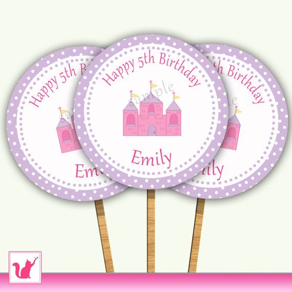 Lovely princess cupcake toppers, personalized with name and age, also available for baby showers