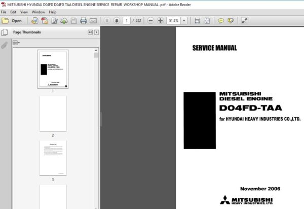 Mitsubishi Hyundai D04fd D04fd Taa Diesel Engine Service Repair Workshop Manual Pdf Download In 2020 Diesel Engine Mitsubishi Hyundai