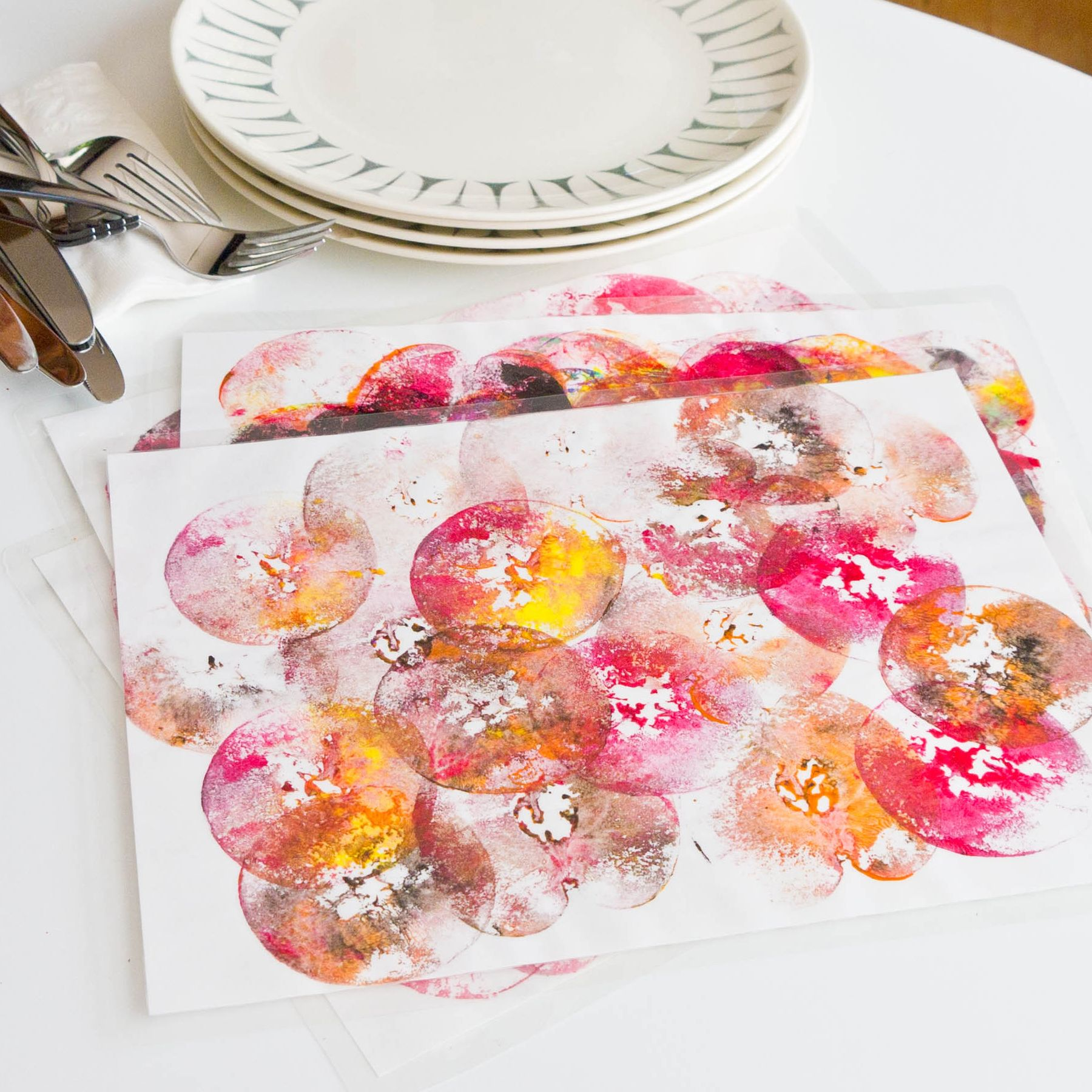 Craftastic Colorful Apple Print Place Mats For Rosh Hashanah
