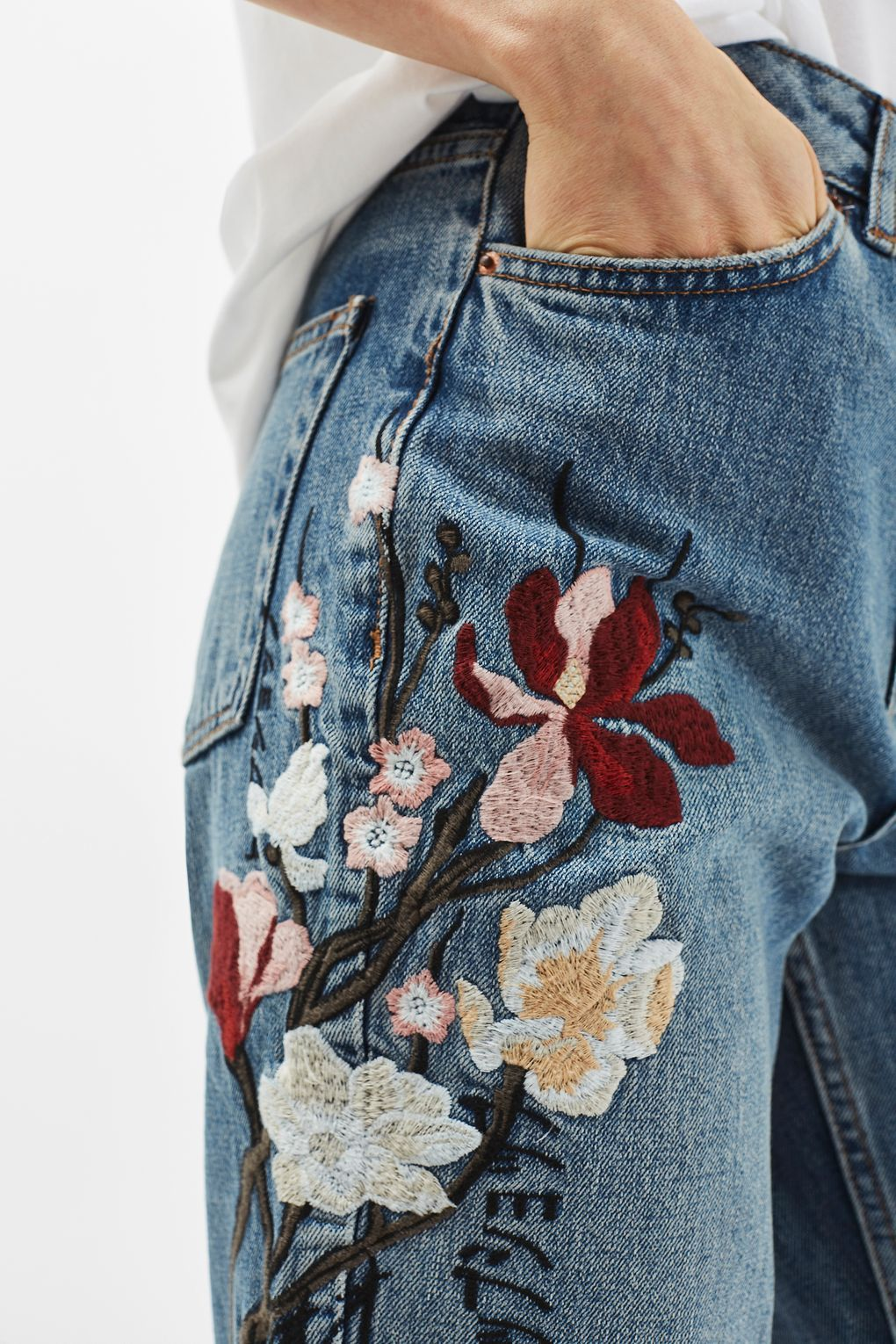 161c44a5603f TALL Floral Embroidered Mom Jeans