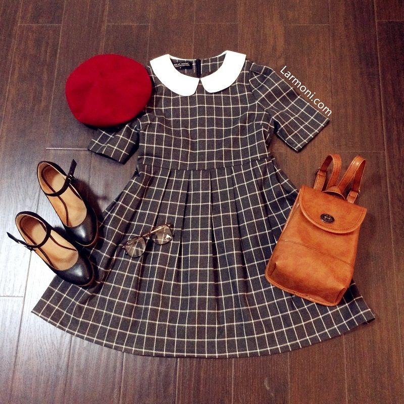 Retro Checks Peter Pan Dress