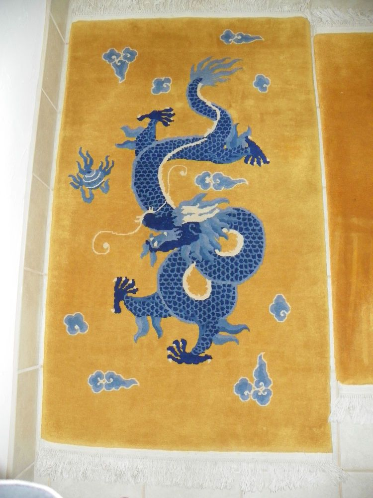 Rug Chinese Wool Hand Knotted Quot Blue Dragon Over Gold