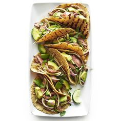 Flank Steak Tacos with Avocado and Red Onion Salad #flanksteaktacos