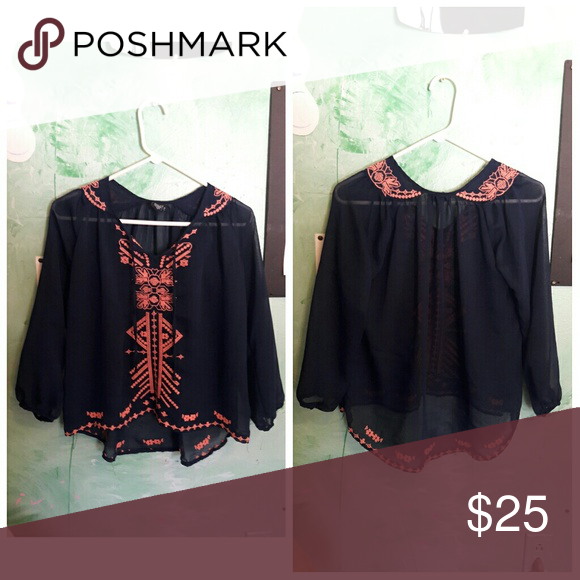 Embroidered blouse Very cute  No flaws Willing to trade Brandy Melville Tops Blouses