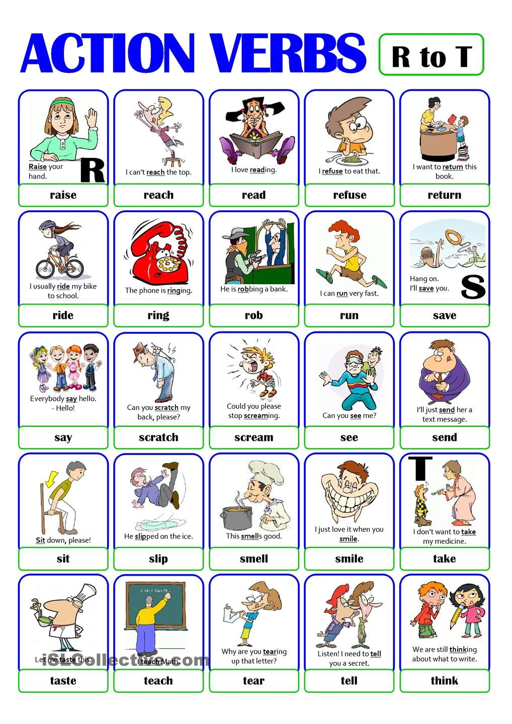 Pictionary  Action Verb Set (4)  From R To T  English  English Verbs, Action Verbs, English