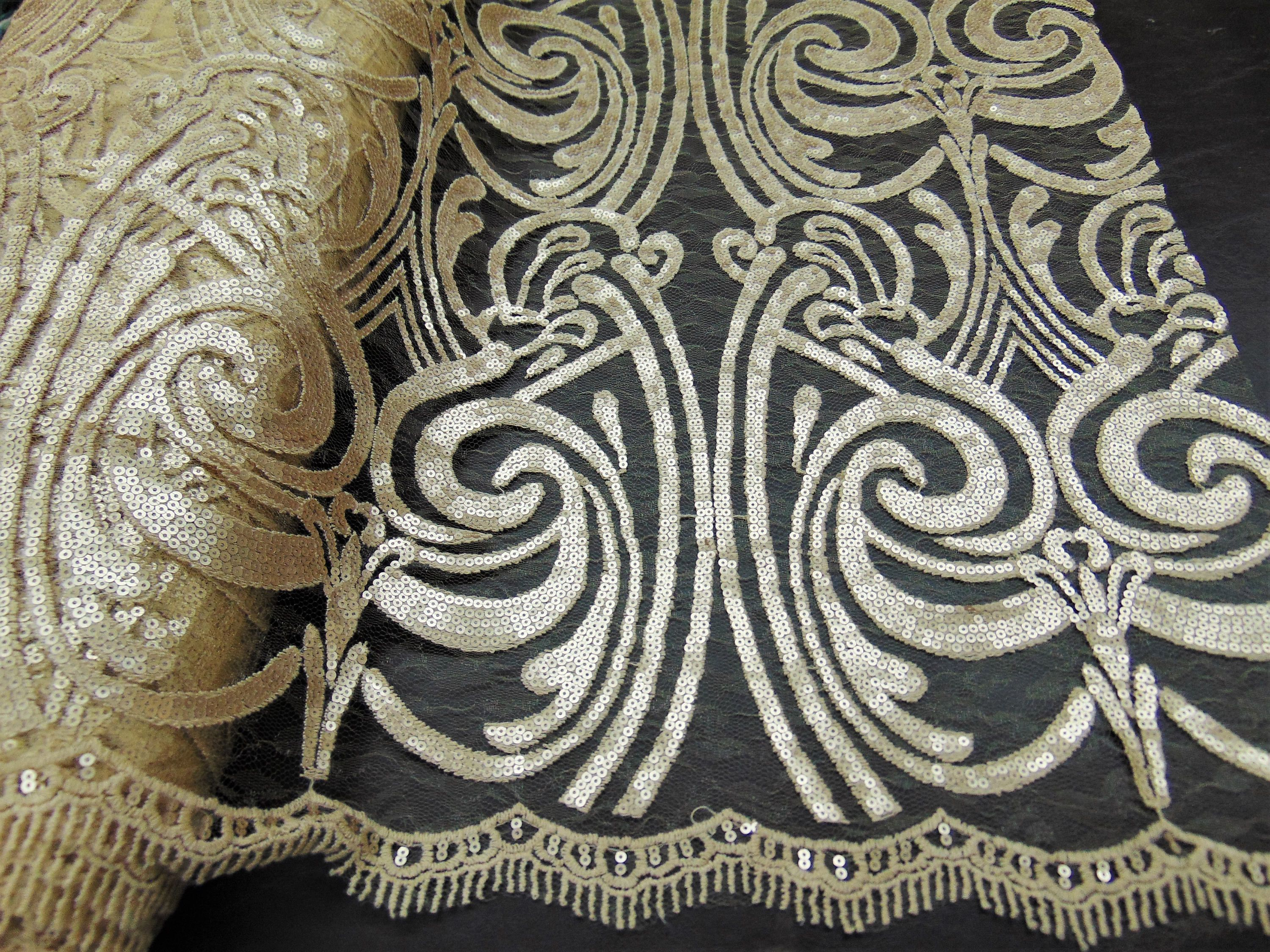 Stunning Art Nouveau Damask Big Pattern, Fully Sequined Fabric On