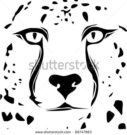 Cheetah face silhouette