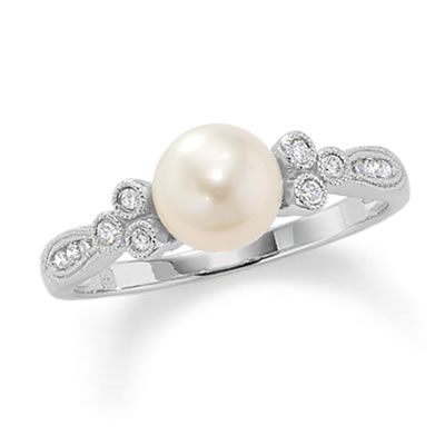pin diamond pearl engagement gold rose rings artestic ring