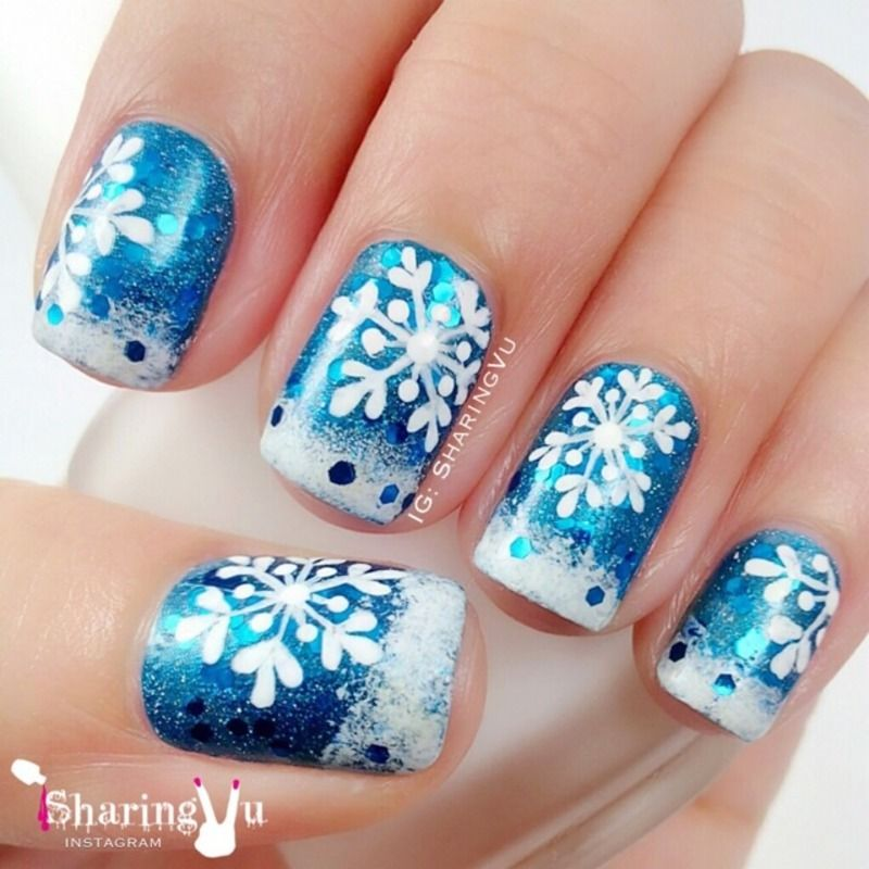 33 Beautiful Snowflake Nail Art Designs Pinterest Snowflake Nail