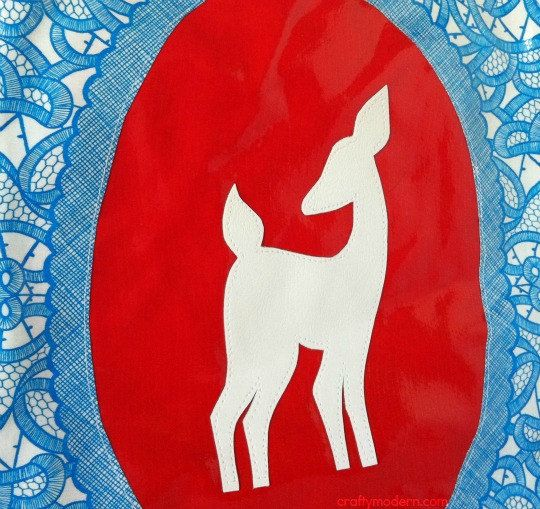 Woodland Deer Silhouette Cameo Purse in Red and by craftymodern,