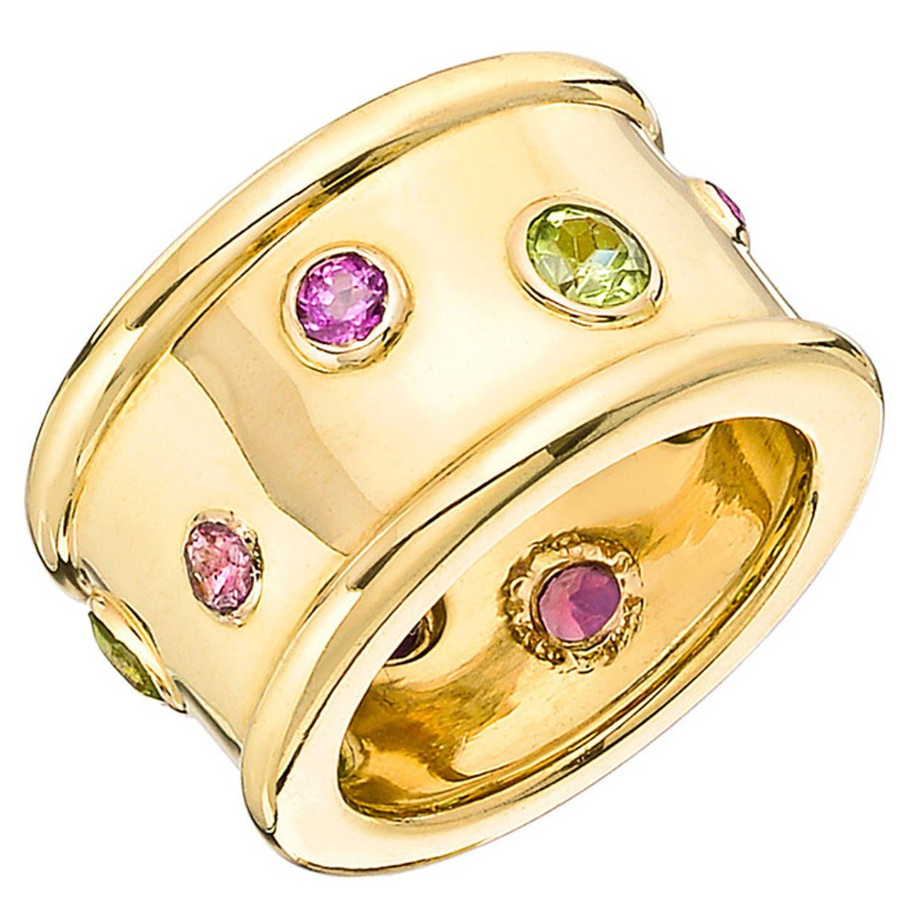 Chanel Peridot Pink Tourmaline Gold Wide Band Ring Wide band