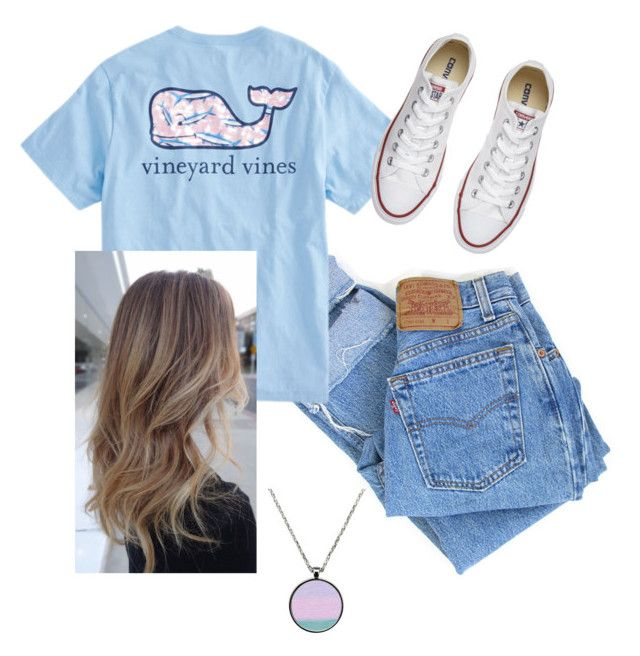 """""""School outfit"""" by taladissi on Polyvore featuring Levi's, Vineyard Vines and Converse"""