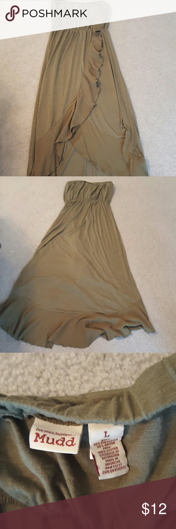 Soft summer dress Adorable army green strapless dress with layered front. Lightweight and great for summer! Elastic band at top twists (see pic 4) but can easily be flipped back so that it is laying flat. Dresses Strapless