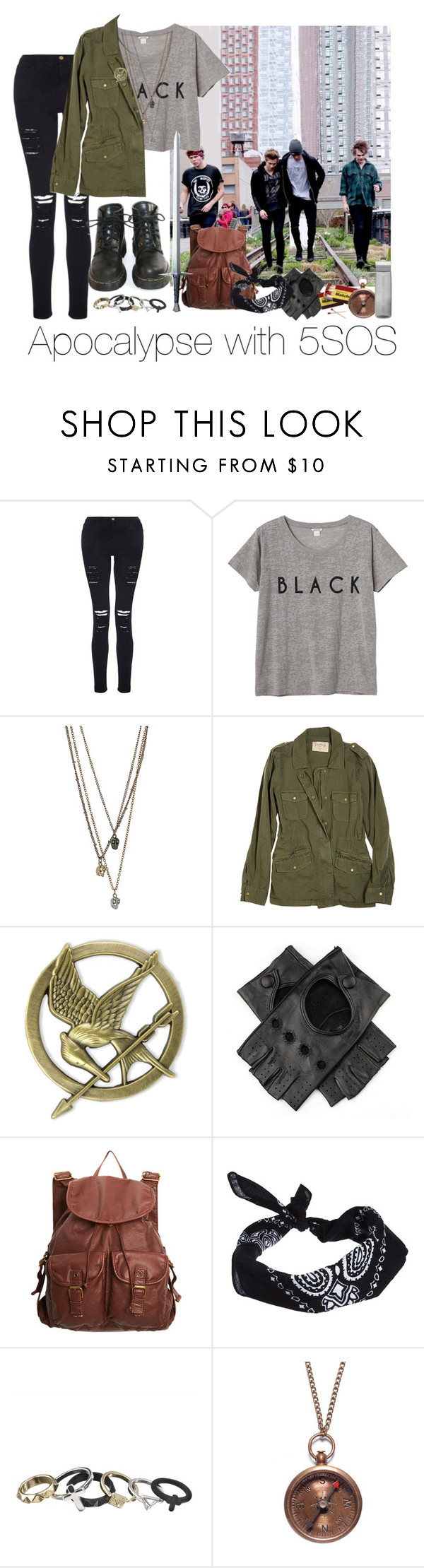 """""""Apocalypse with 5SOS"""" by marissa-louise ❤ liked on Polyvore featuring Frame Denim, Monki, Velvet, Dr. Martens, dELiA*s, ASOS, S.W.O.R.D., We Are All Smith and Contigo"""