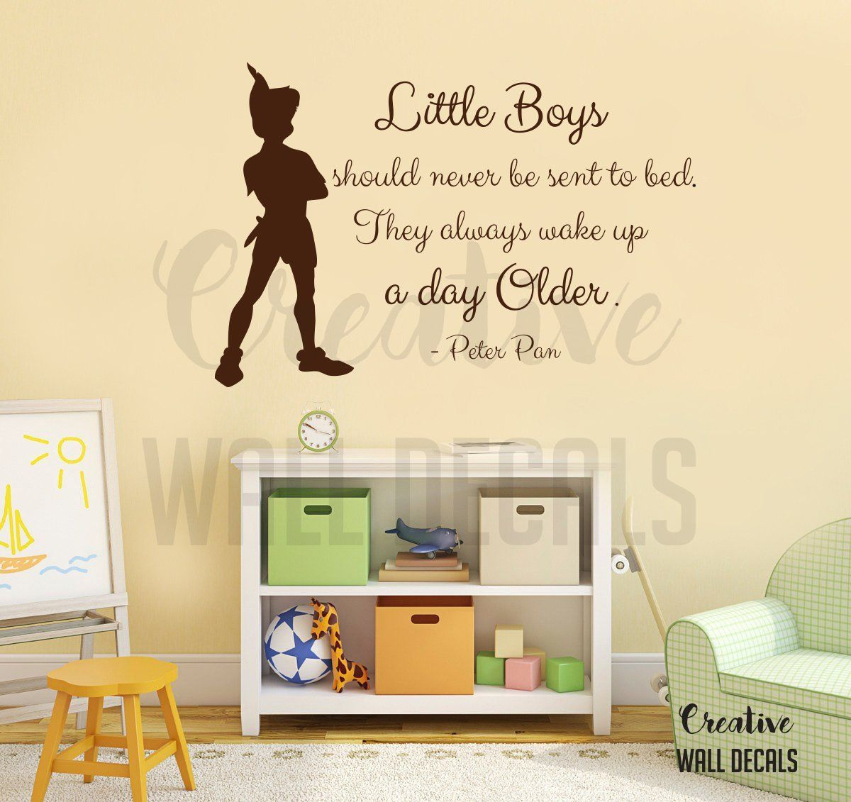 Vinyl wall decal sticker peter pan quote little boys nursery baby