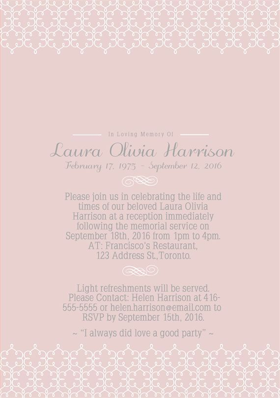 39 Best Funeral Reception Invitations Pinterest Reception