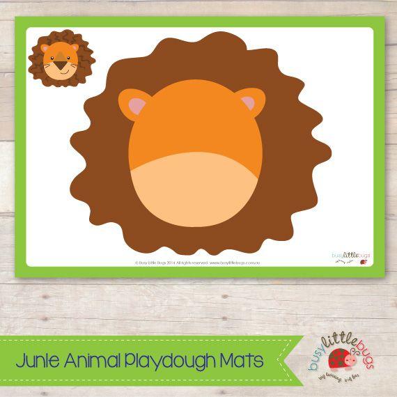 image regarding Printable Playdough Mats named Jungle Animal Playdough Mats 10 printable playdough mats