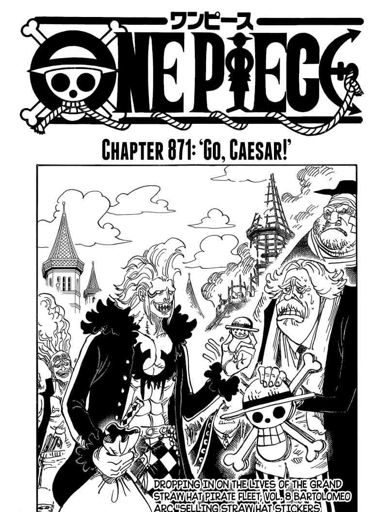 "One Piece Chapter 871 ""Go, Caesar!"" is now out enjoy reading #onepiece  #luffy #monkeydluffy #roronoazoro #zoro #nami #usopp #sanji #chopper  #nicorobin ..."