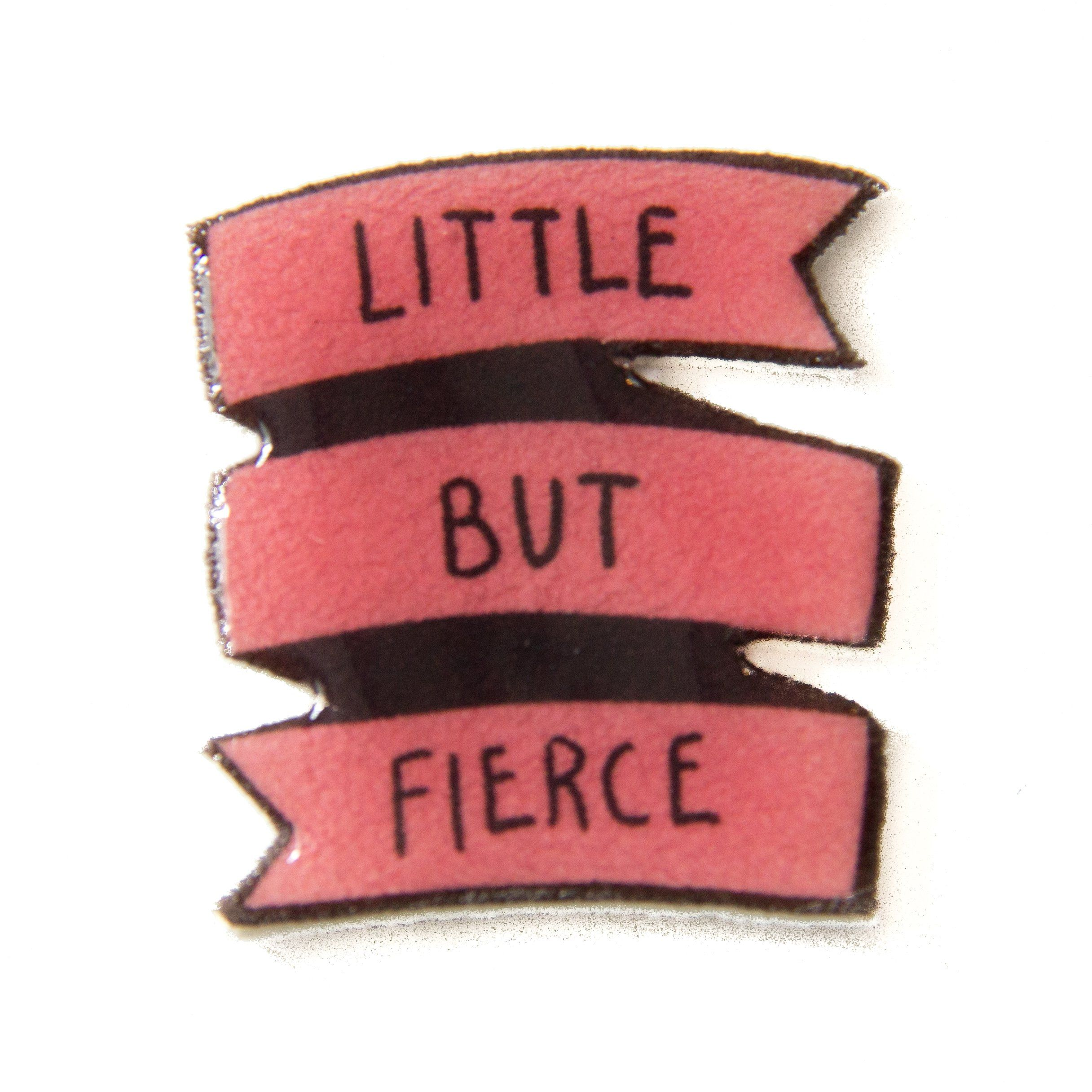 Little But Fierce Pink Enamel Pin Shakespeare Quote Small Gift Banner Feminist