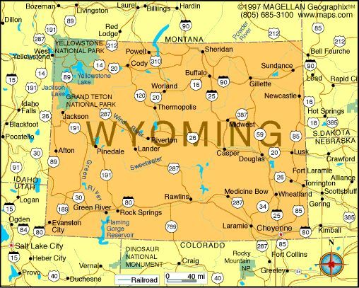 Map Of Wyoming Became A State On July 10 1890 It Was The 44th