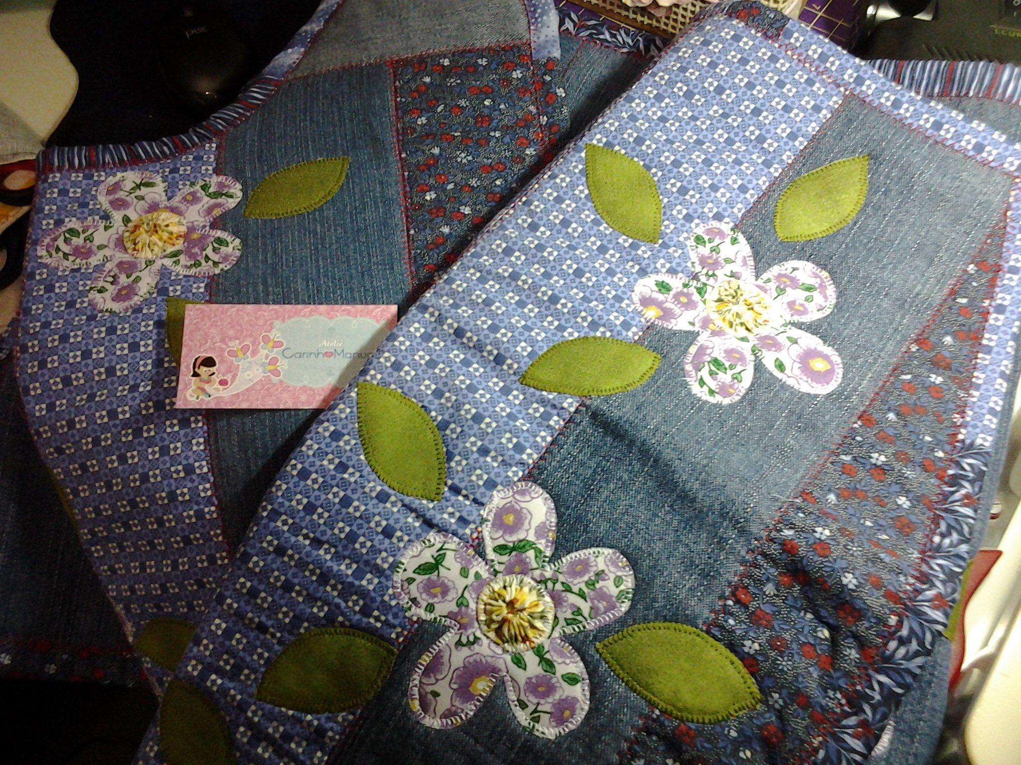 Jogo Flores em Jeans. Feito por mim.