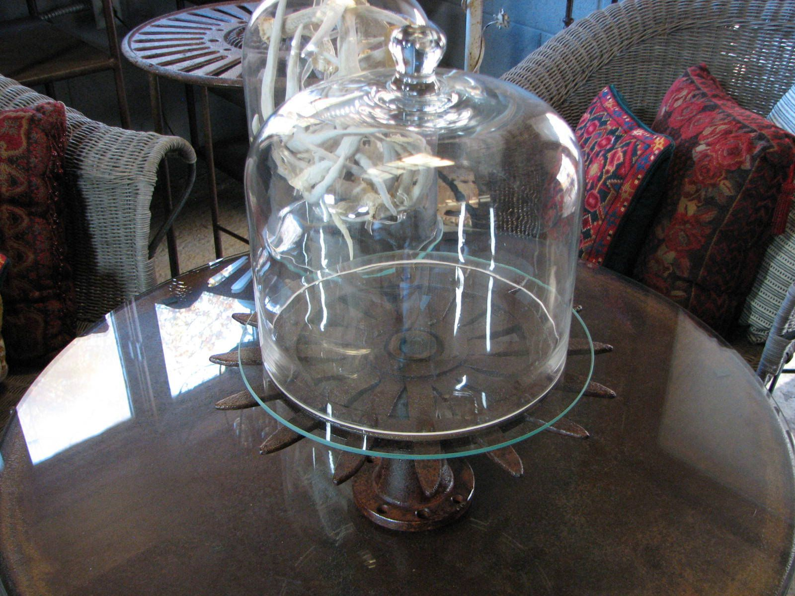 Farmhouse cake pedestal with large glass dome by