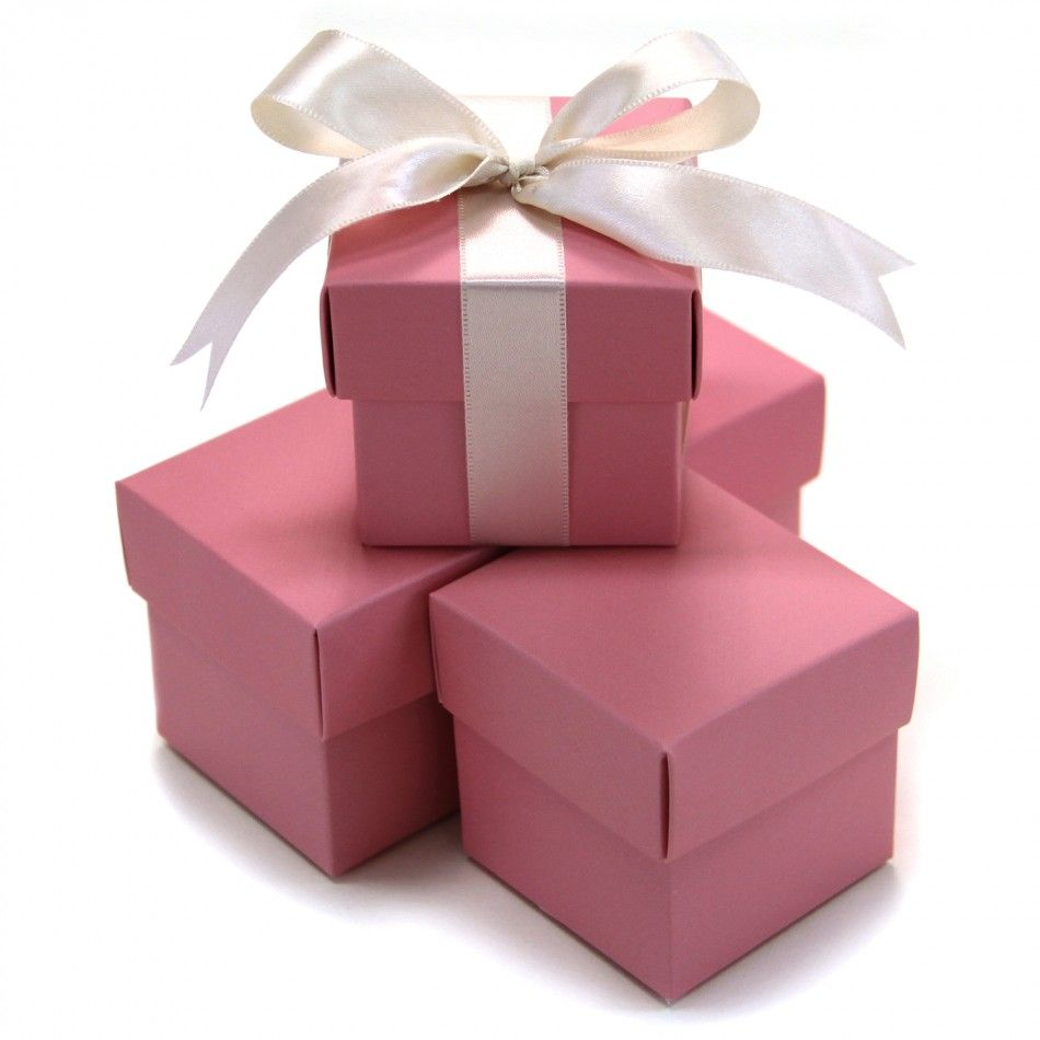2 Pc Favor Boxes 2x2x2 Pink 403496 2 Piece Favor Boxes Pink