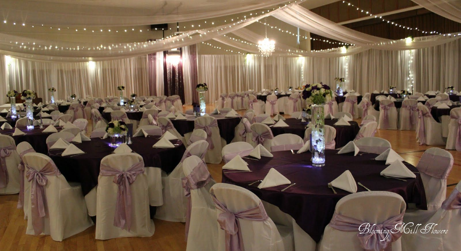 Purple And White Banquet Hall Decor Spring Wedding