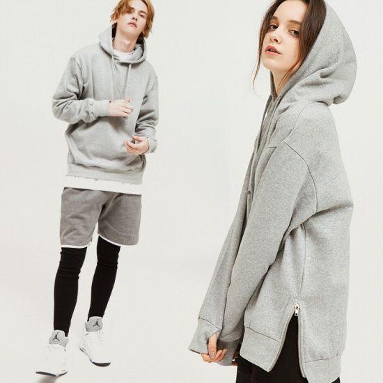 [ezy studio] side zipper over hoodie gray